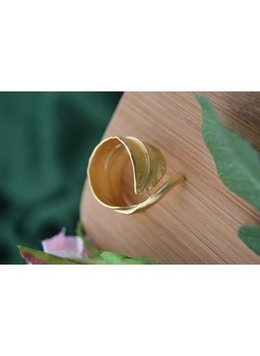 Stoneage Kaliteli Altın Kaplama Yaprak Form Ayarlı Yüzük Altın